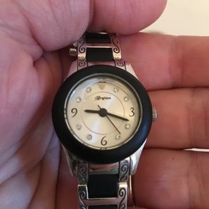 BRIGHTON silver watch with black accent women's